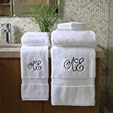 Personalized Monogrammed Decorative Bath Linens for Home, Office, and Gifts, with Decorative Frame.. Hotel Collection 100% USA Made Organic Cotton 6-Piece Set - White - 2-Bath, 2-Hand & 2-Wash Towels