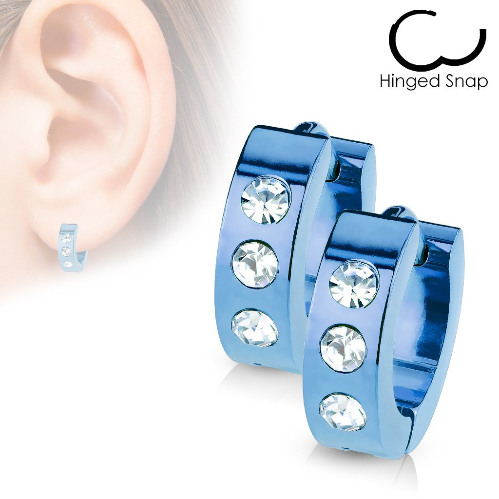 Pair of 316L Stainless Steel Hinged Hoop Earring w// 3 Clear CZs Blue//Clear