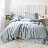 Simple&Opulence 100% Linen Duvet Cover Set 3pcs Basic Style Natural French Washed Flax Solid Color Soft Breathable Farmhouse