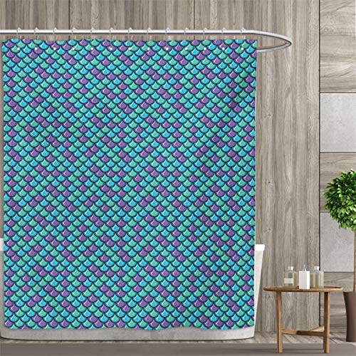 smallfly Fish Shower Curtain Collection by Marine Animal Skin Dragon Scale Pattern Ornate Aquatic Themed Marine Patterned Shower Curtain 72
