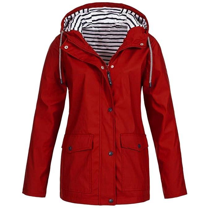 Amazon.com: Fiaya Womens Rain Jacket Outdoor Plus Waterproof Lightweight Hooded Raincoat Windproof Trench Coats (XXL, Blue): Electronics
