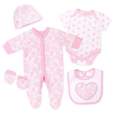 5 piezas niña Pelele Juego Color Blanco Rosa Paisley Corazón Blanco, rosa Talla:Newborn