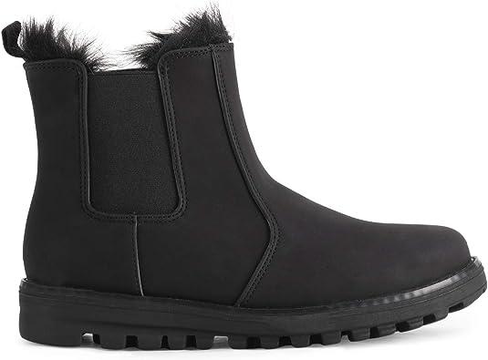 POLAR Womens Memory Foam Chelsea Nubuck Boot Waterproof Rubber Welted Stitch Outsole Faux Fur Lined