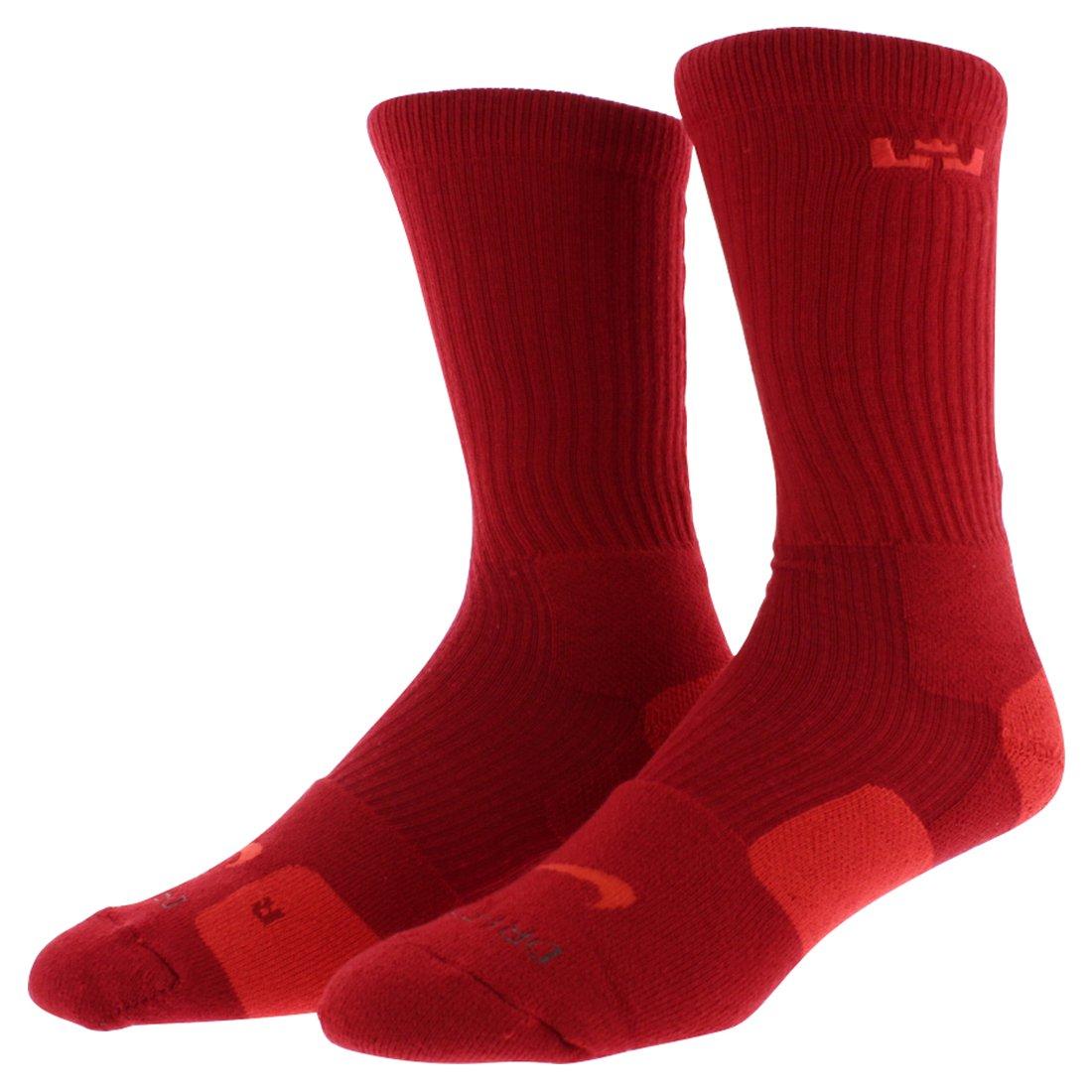 Men 's Nike LeBronクッションEliteクルーバスケットボールソックス L B00OPGT5MY