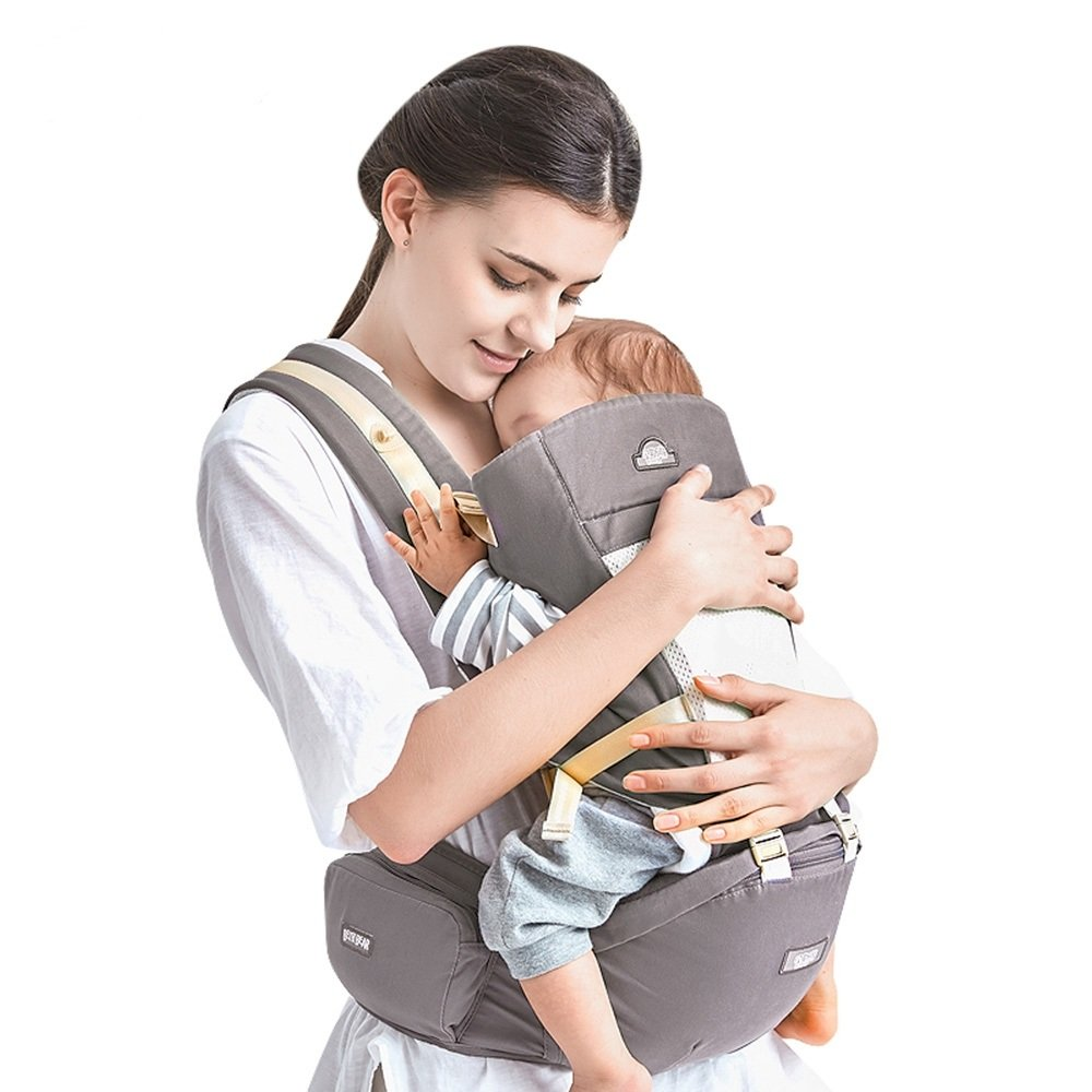 Bethbear Baby Carrier with Hip Seat, 4-in-1 Convertible Carrier, Ergonomic Baby Carrier Backpack, Baby Wrap Carrier, Baby Carriers Front and Back for Men and Women