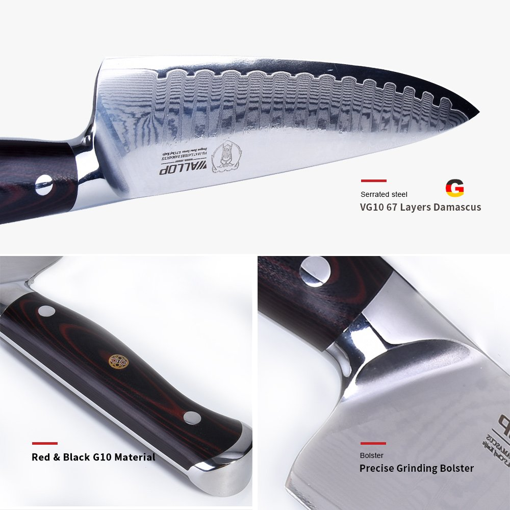 8.5' Japanese Damascus Chef Knife with 67 Layers Damascus Steel Kitchen Knife,Veggie Vegetable Chopper Cutter Knife, Meat Cleaver, Full Tang Blade G10 Handle for Professional Chef WALLOP Dragon Bone by Wallop (Image #2)