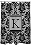 Manual Woodworkers & Weavers Shower Curtain, Monogrammed Letter K, Black and Grey Damask