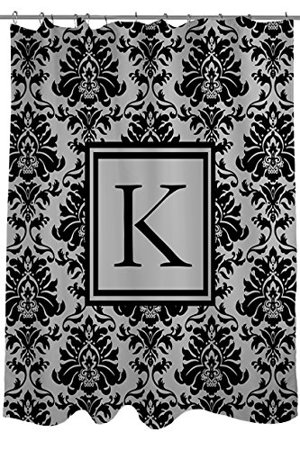 Manual Woodworkers & Weavers Shower Curtain, Monogrammed Letter K, Black and Grey Damask by Manual Woodworkers & Weavers