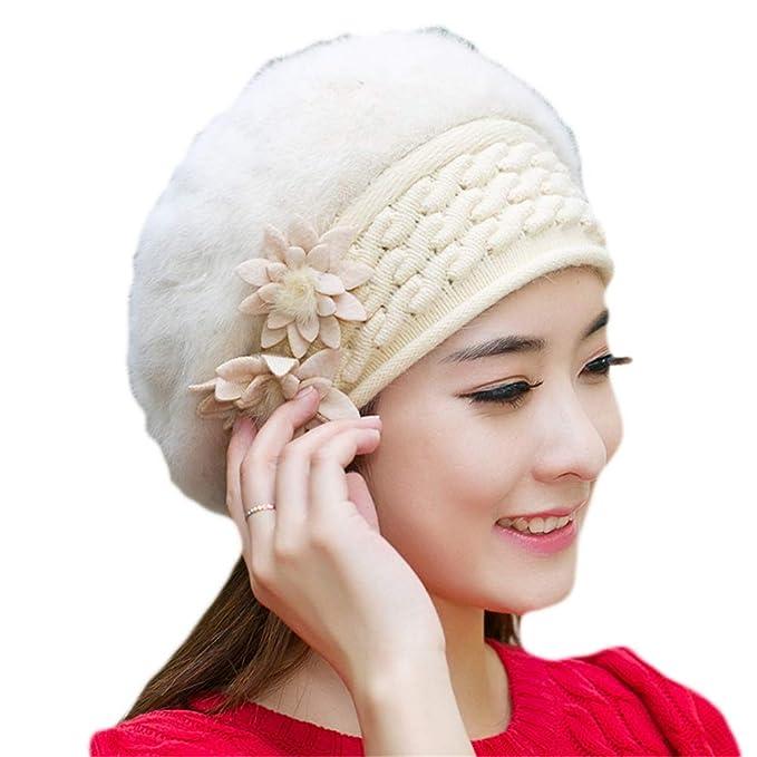 Sombreros De Punto Mujer Boinas De Lana Invierno Espesar Calentar Sombrero  Lanoso Las Flores Señoras Casual b2205b6a386