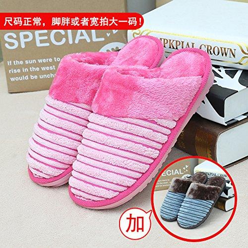 Home habuji caldo cotone pantofole uomini e donne pacchetto con trampolino indoor antiscivolo per scarpe, femmina 35/36 + maschio 43/44, rosa + blu scuro