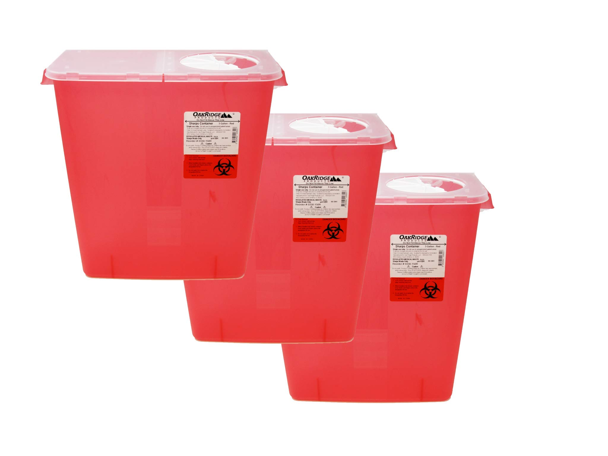 Oakridge 3 Gallon Size (Pack of 3) Needle and Syringe Disposal Container by OakRidge Products