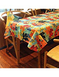 Soul&Heart Rococo Style Colorful flowers Theme Terylene Polyester Tablecloth Table Cover Wipe Clean Skidproof Stain Resistant Waterproof Oilproof Heatproof Assorted Size (55 X 71 inch)