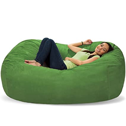 Cool Comfy Sacks 6 Ft Lounger Memory Foam Bean Bag Chair Lime Micro Suede Pabps2019 Chair Design Images Pabps2019Com