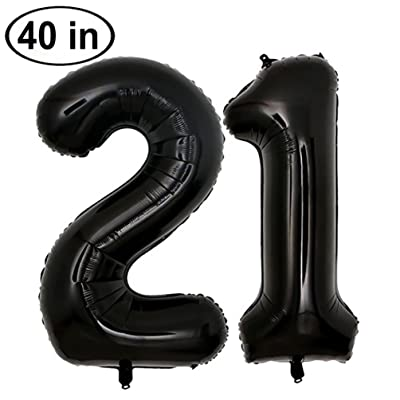 KEYYOOMY 40 in Big Number 21 Balloon Black Gaint Jumbo 21th Foil Mylar Number Balloons for 21 Birthday Party Decorations (21,Black): Toys & Games