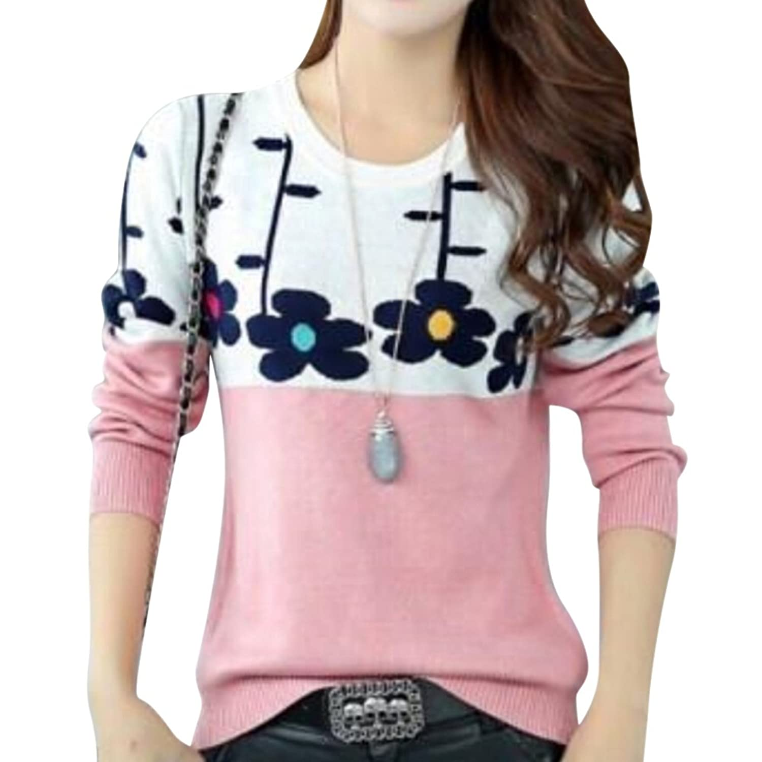 MNBS Women's Cute Knitted Flower Casual Floral Pullover Jumper Sweater