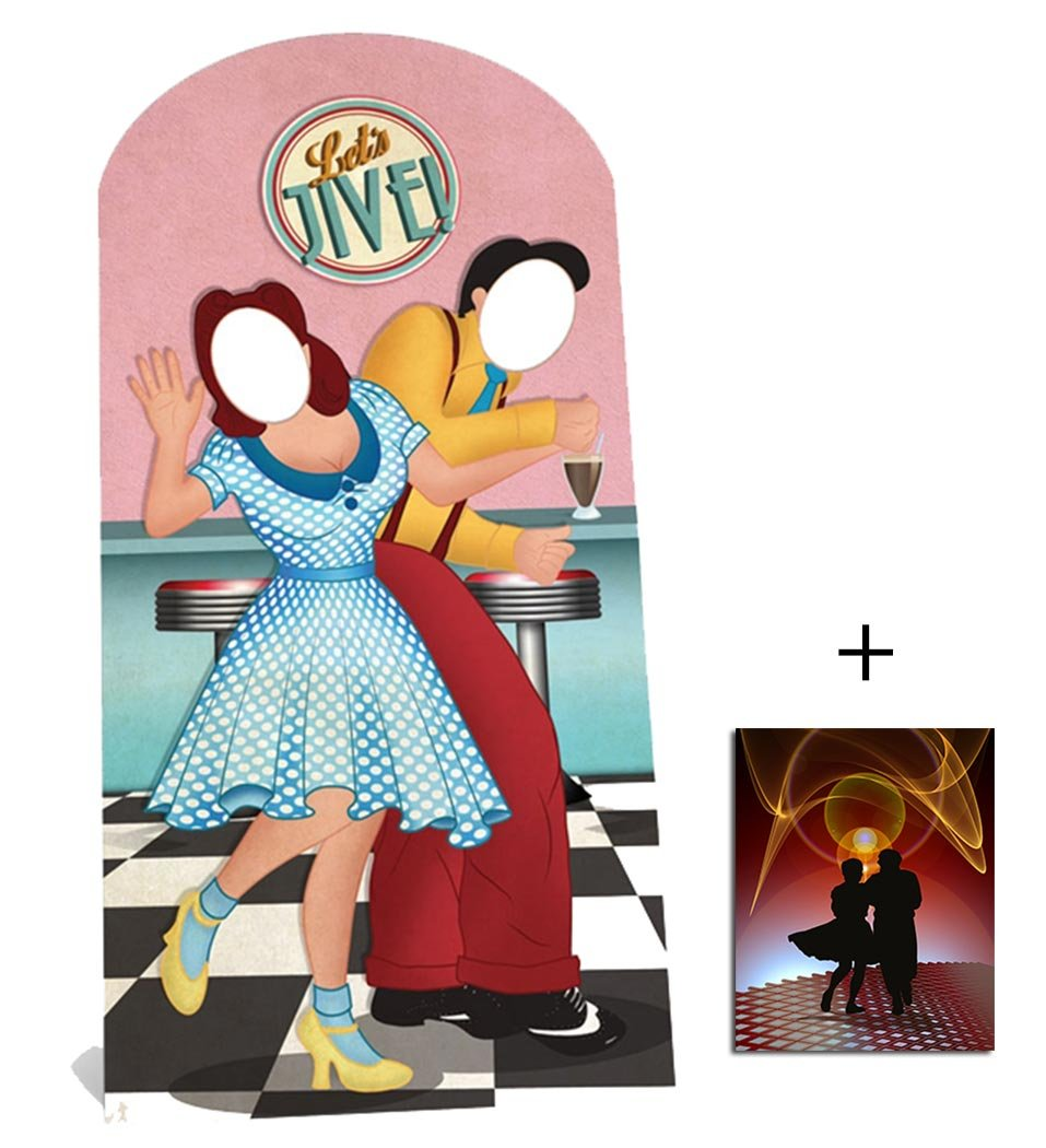 Fan Pack - 1950s Swing / Jive Dancers Stand In Lifesize Cardboard 2D Standup / Cutout Plus 20x25cm Photo