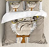 Indie Duvet Cover Set Queen Size by Ambesonne, Sketch Portrait of Funny Modern Ostrich Bird with Yellow Eyeglasses and Tie, Decorative 3 Piece Bedding Set with 2 Pillow Shams, Taupe Beige Yellow