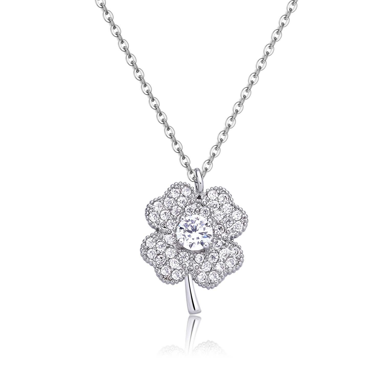 Heart Clover Silver Necklace