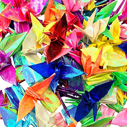 (Cieovo 50 PCS Origami Paper Cranes 8 Color Mixs Handmade Folded Origami Paper Crane String Garland for Christmas Wedding Party Backdrop Home Decoration, Mix Color)