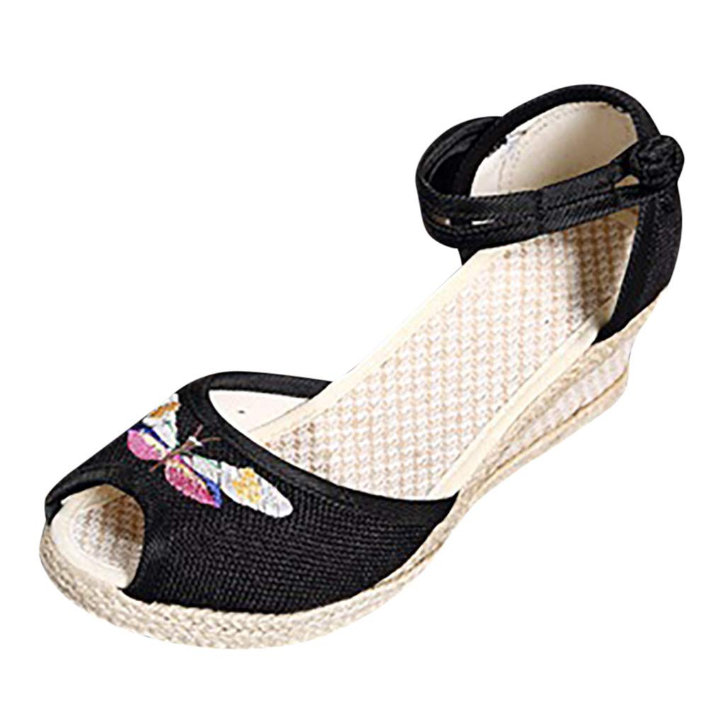 Sherostore ♡ Women's Open Toe Embroidered Floral Strappy Ankle High Wedge Heel Sandal Chinese Embroidery Shoes Black