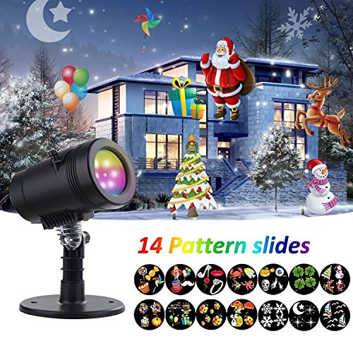 Outdoor Rotating Pub Light - YMing Christmas Projector Lights, Kaleidoscope Rotating Indoor Outdoor LED Spotlight Light Show Red and Green for Christmas Holiday Decoration (14 Pattern)