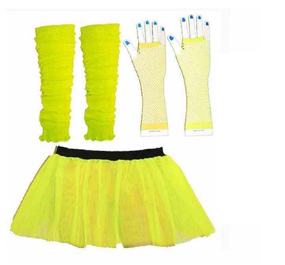 3 pièces giallo fluo pour Donna  Tutu adultes 8-14 UK Mini-jupe Jambières Gants en résille giallo 80 de déguisement (onestopclothingco)