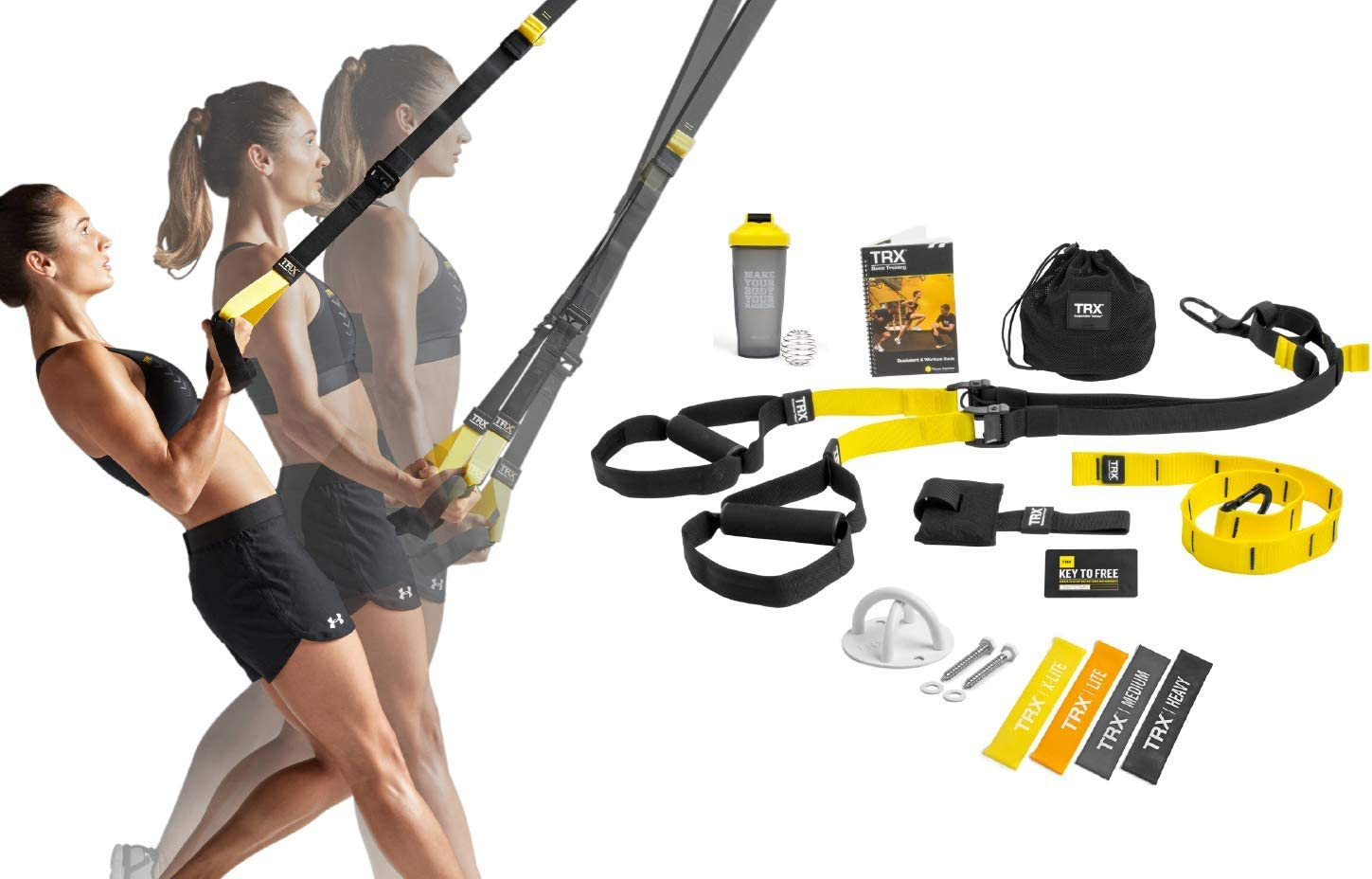 TRX All In One Home Gym Bundle: Includes All-In-One Suspension Trainer, Indoor & Outdoor Anchors, TRX XMount Wall Anchor, 4 Exercise Bands & Shaker Bottle?