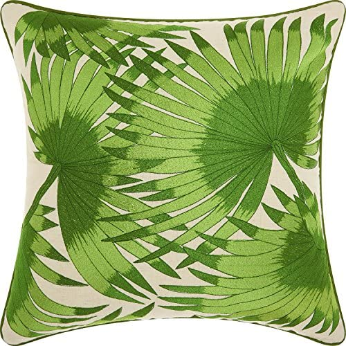Nourison Mina Victory NS541 Royal Palm Leaves Throw Pillow, 18 x 18 , Green