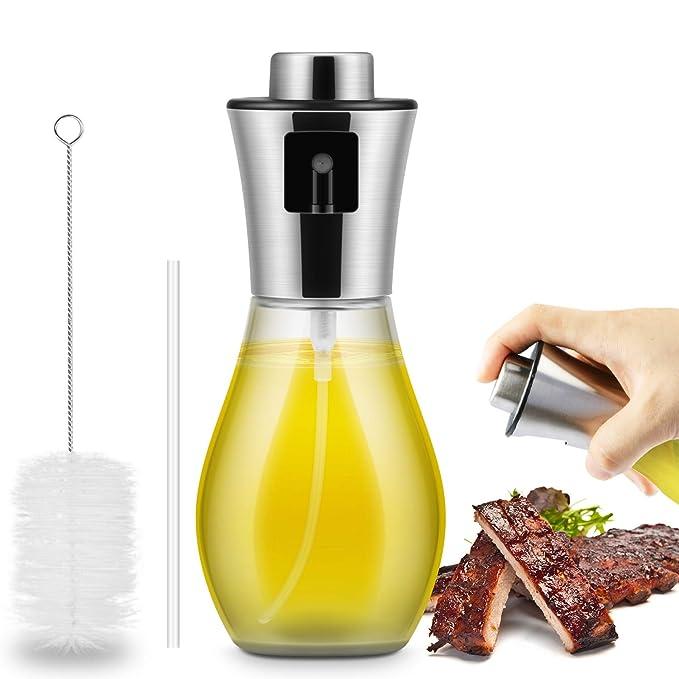 Pulverizador de aceite de oliva de 200 ml, acero inoxidable de primera calidad y vinagre de vidrio apto para uso alimentario: Amazon.es: Hogar