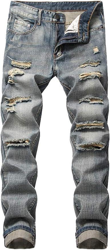 DaiHan Jeans Rasgados Vaqueros para Hombre Pantalones ...