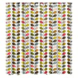 Custom Orla Kiely Colorful Leaf Shower Curtain,Waterproof and Mildewproof Polyester Fabric Bath Curtain Design,72x72-Inch