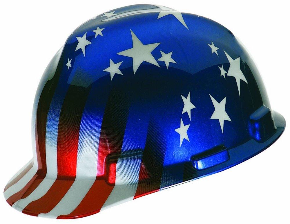 medium Mine Safety Appliances Co MSA MSA Safety Works 10052945 American Stars and Stripes V-Gard Protective Hard Hat