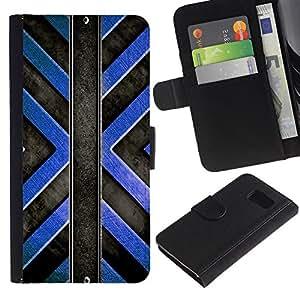 UNIQCASE - Samsung Galaxy S6 SM-G920 - Black Blue Cross Pattern - Cuero PU Delgado caso cubierta Shell Armor Funda Case Cover