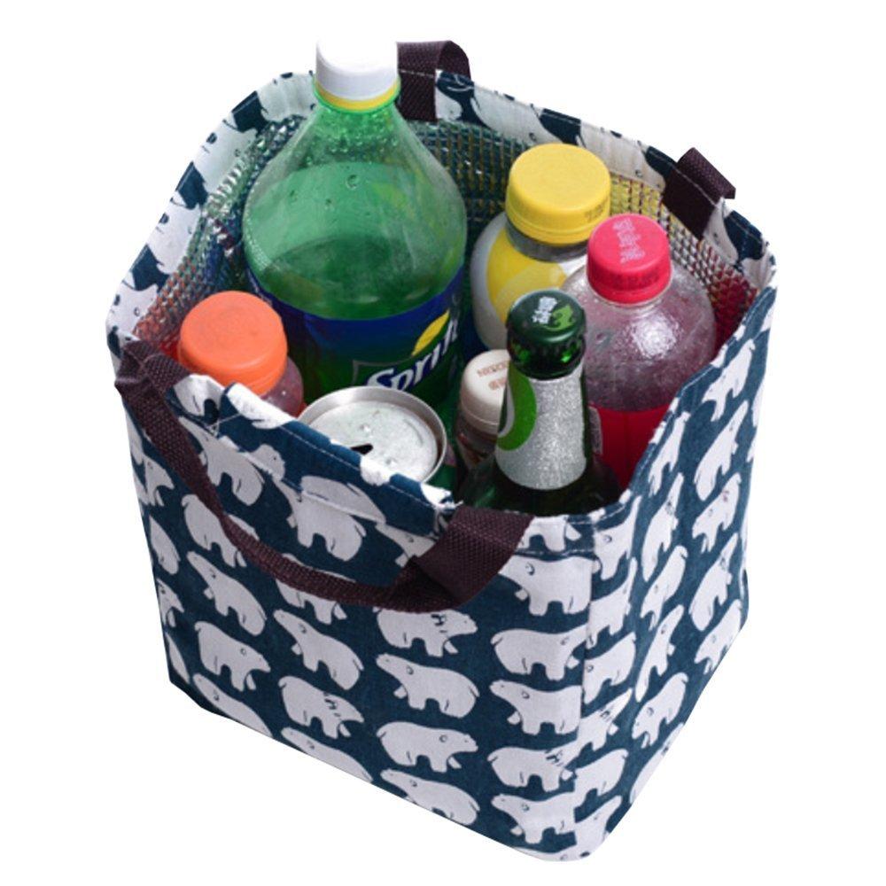 Laat lonchera de lona 5 colores para su elecci/ón Bear Bolsa con aislamiento t/érmico para alimentos impermeable port/átil; bolsa de mano porta alimentos