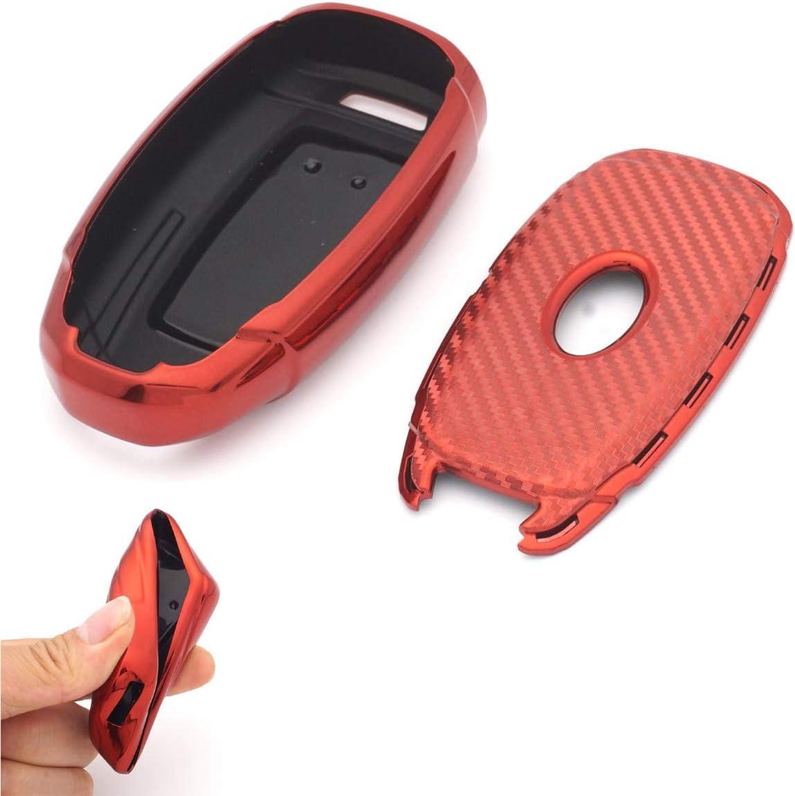 Royalfox 3 4 5 Buttons Soft TPU Carbon Fiber Silicone Smart Remote Key Fob case Cover Shell for Hyundai i30 Azera ix35 Elantra Accent Santa Fe IG Grandeur,2017-2020 Hyundai Palisade Black TM
