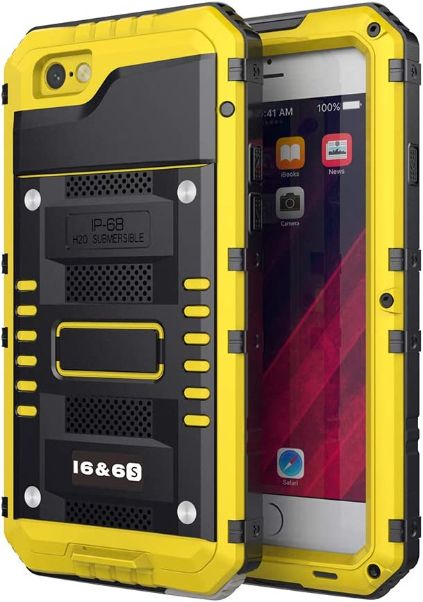 Beeasy Funda para iPhone 6 / 6S,Impermeable Antigolpes con Protector Pantalla,360°Protección Rígida Robusta Carcasa para Aifon 6S Resistente Impacto Militar Duradera Blindada Fuerte Seguridad,Amarillo: Amazon.es: Electrónica