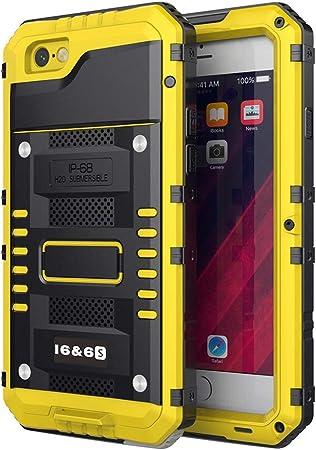 Beeasy Cover iPhone 6 Impermeabile Antiurto Giallo, iPhone 6S IP68 Waterproof Custodia Protettiva Full Body con Protezione dello Schermo, AntiGraffio ...