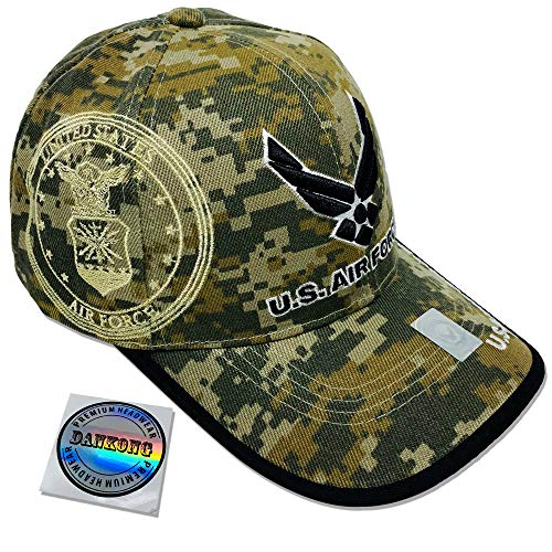 DANKONG Air Force Hat -Official Licensed US Military 3D Embroidered Baseball Cap with Size Adjustable Hoop and Loop Closure for Men and Women - U.S. Air Force - Camo