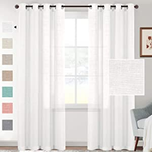 H.VERSAILTEX Linen Sheer White Curtains 84 Inches Long Grommet Top Natural Linen Blended Sheer Curtains for Living Room Window Treatments Linen Curtain Panels for Bedroom, Privacy Assured, Set of 2