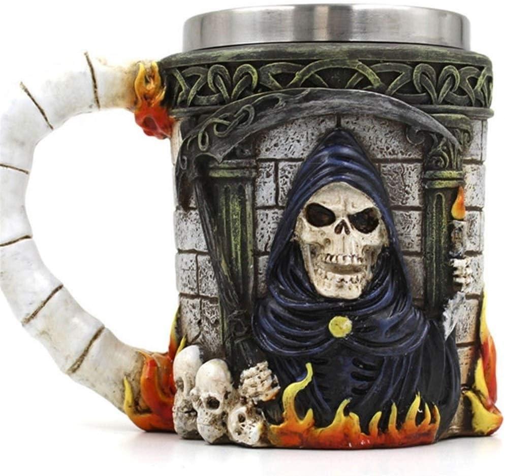 Reutilizable Taza de café Creativa Taza de Halloween Esqueleto Muerte Diseño gótico Jarra de cerveza Tazas 3D Tazas y taza de café MEJOR Regalo del Día del Padre de Halloween ( Capacity : 601 700ml )