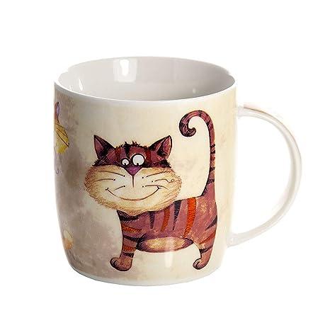 Tazas de Desayuno Originales de café té con decoración de Lindo Gatos, Color Beige Apto para ...