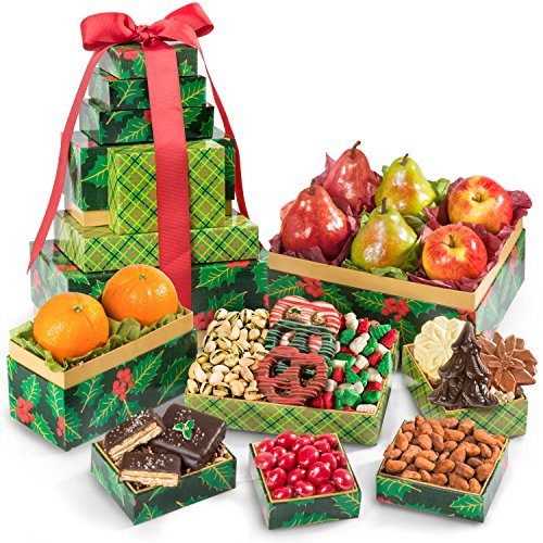 Golden State Fruit Holly Jolly Deluxe Size Fruit and Treats Holiday Tower