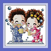 YEESAM ART New Cross Stitch Kits Advanced Patterns for Beginners Kids Adults - Couple Love Doll 11 CT Stamped 32×32 cm - DIY Needlework Wedding Christmas Gifts