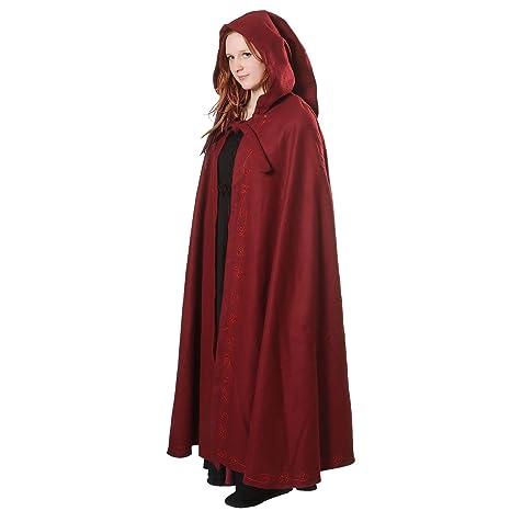 Signore mantello medievale con cappuccio e lana ricami rossi  Amazon ... 336dad9bea1