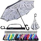 Dryzle Auto Open Reverse Plegable Sol y Lluvia Paraguas-La Mejor UV y Resistente al Viento Paraguas para Las Mujeres y los Hombres-Exclusivo C Mango con Gancho para Sports & Golf