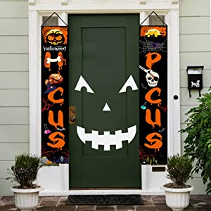 ERS Halloween Banner, Door Welcome Sign with Hocus Pocus, Outdoor Flag Decoration, Yard Decor, Porch Display for Scary Funny Party, Celebration - 2 Packs