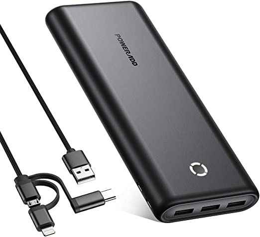 POWERADD 26800mAh Portable Power Bank, EnergyCell 26800 High-Speed Charging Portable Charger, 3 USB Outputs, Dual Inputs, Compatible for iPhone 12 Samsung S10 Google LG iPad and More