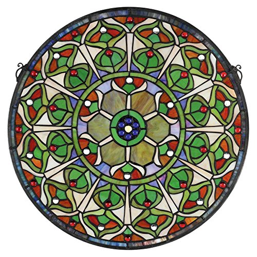 Design Toscano Peacock's Plumage Medallion Tiffany-Style Stained Glass ()