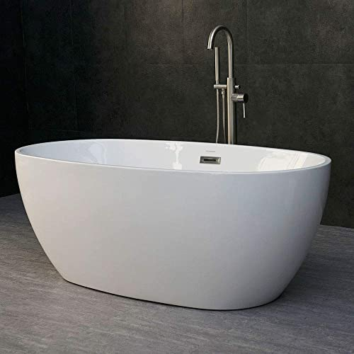 WOODBRIDGE Modern Acrylic Freestanding Bathtub Comfortable Soaking, Brushed Nickel Drain and Overflow Assembly Included, 59 B-0018 OVAL