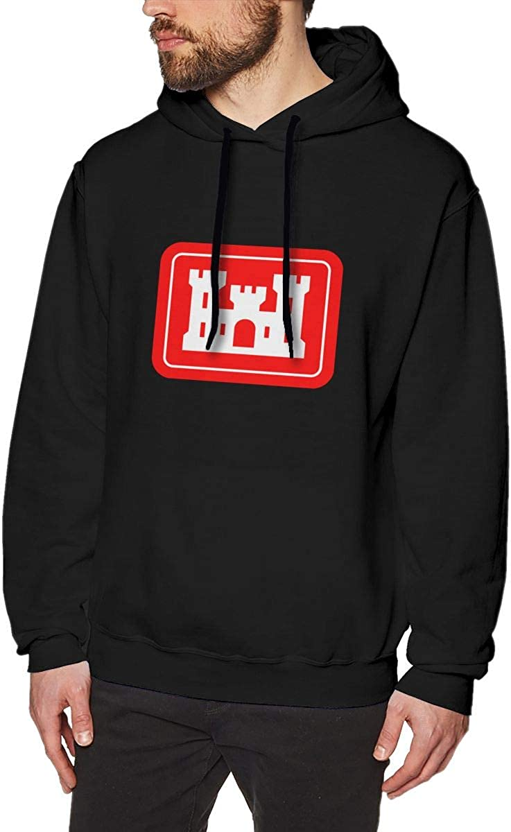US Army Engineers Corps Insignia Mens Hooded Sweatshirt Theme Printed Fashion Hoodie